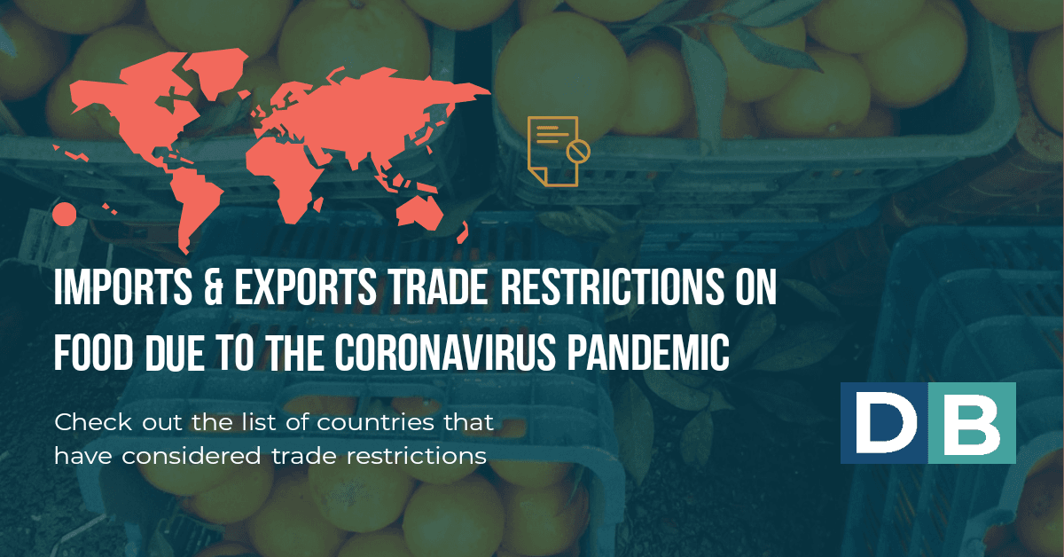 Imports & Exports Trade restrictions on food due to the coronavirus pandemic